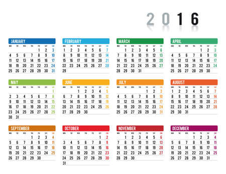 2016 calendar in english Illustration