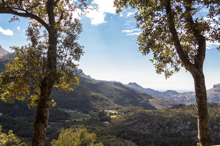 View of the Landscape near Lluc Monastery (Mallorca) from a the Hiking Path Stok Fotoğraf
