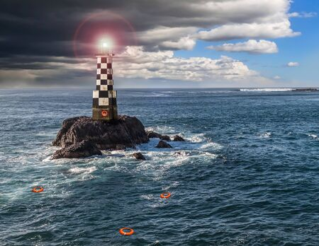 Lighthouse near the Shore with Storm Clouds
