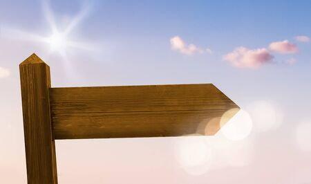 Blank Signpost in the Sun and Under Blue Sky