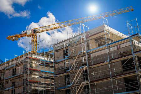 Crane on a Construction Site under Blue Sky