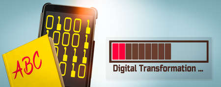 Banner with a Yellow Book and a Tablet Computer showing a Loading Bar and the Text Transformation