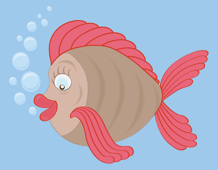 A fish and bubbles on isolated blue background. Vector