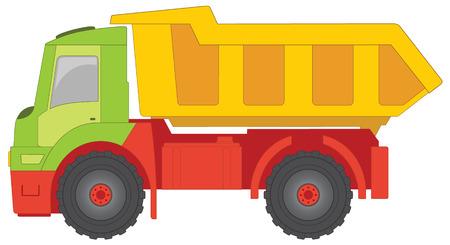 maschinenteile: LKW-Spielzeug mit gr�nen Cab, gelb der LKW-K�rper und rot Teile der Maschine.