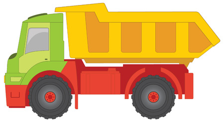 Truck toy with green cab, yellow truck body and red machine parts. Vector