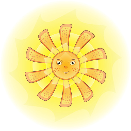Cartoon illustration of a sun with freckles. Vector