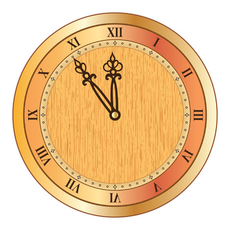numerals: Old clock with roman numerals on the white background. Illustration