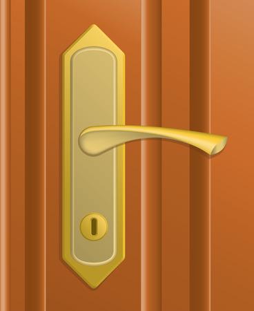 furniture hardware: El identificador de la puerta en la puerta de color marr�n.  Vectores
