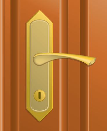 closer: The door handle in the brown door.