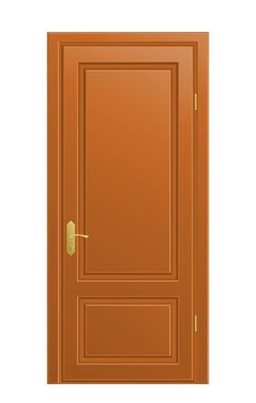La porta in legno chiusa su sfondo bianco.  Vettoriali