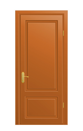 The wooden closed door on white background. Stock Vector - 7452855