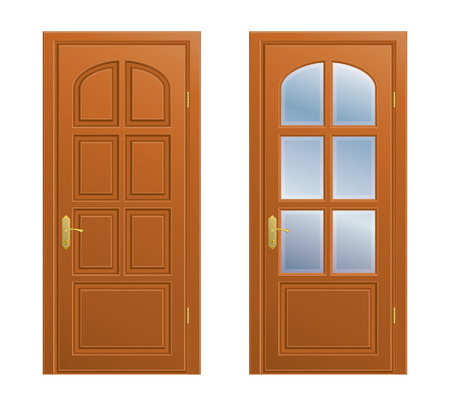panes: Collection of closed doors on white background. Illustration