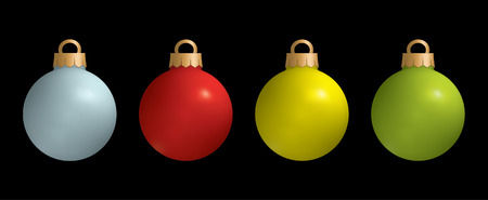 xmax: Set of colored Christmas balls on black background Illustration