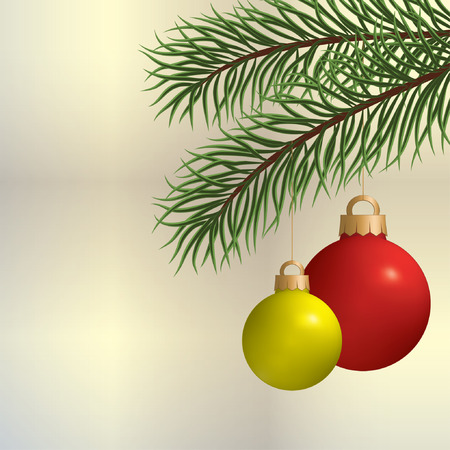 firtree: Two Christmas balls on pine branches. Illustration