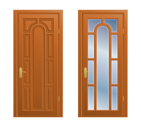 hinge: Collection of closed doors on white background. Illustration