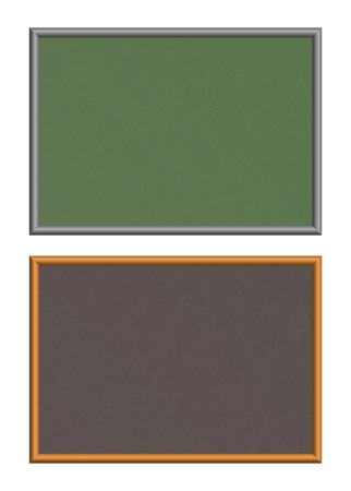 Two chalkboards with scratches. Vector