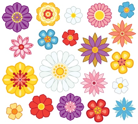 Set of isolated cartoon flowers. Vector