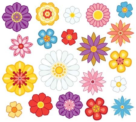 flower icon: Set of isolated cartoon flowers. Illustration