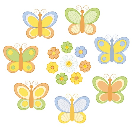 insect flies: Set of cartoon butterflies and flowers.