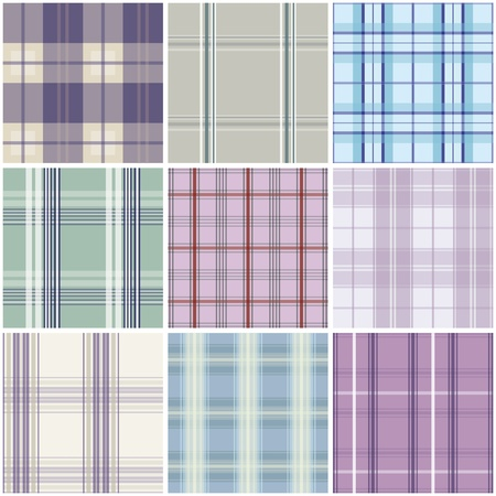 chequered backdrop: Set of tartan patterns for seamless repeat backgrounds.