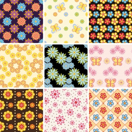 Set of nine floral seamless pattern. Stock Vector - 13856315