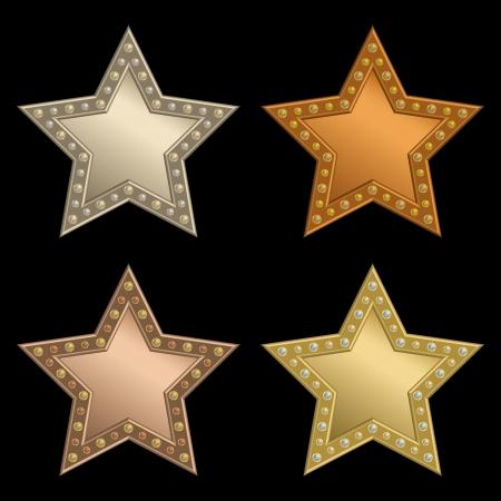 Set of stars of rivets