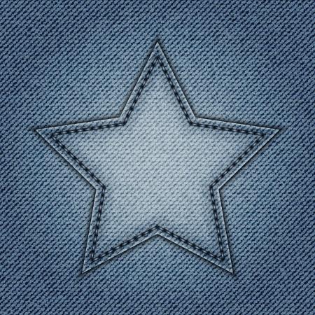 Blue jeans star on jeans background Stok Fotoğraf - 15137026