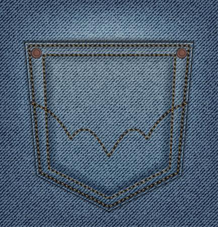 Back pocket on blue jeans background Vector