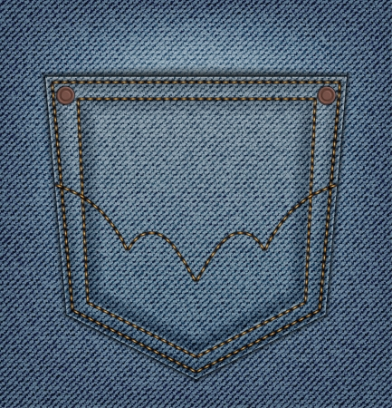 seam: Back pocket on blue jeans background