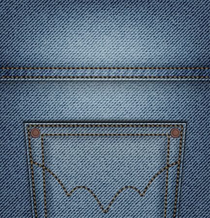 Top pocket on blue jeans background Stok Fotoğraf - 18244612