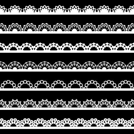 검은 배경에 원활한 레이스 테두리의 집합입니다.