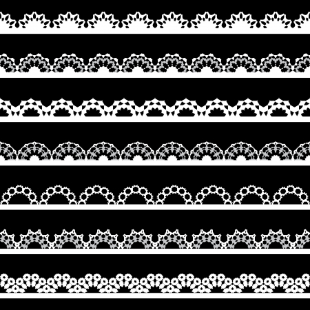Set of seamless lace border on black background.