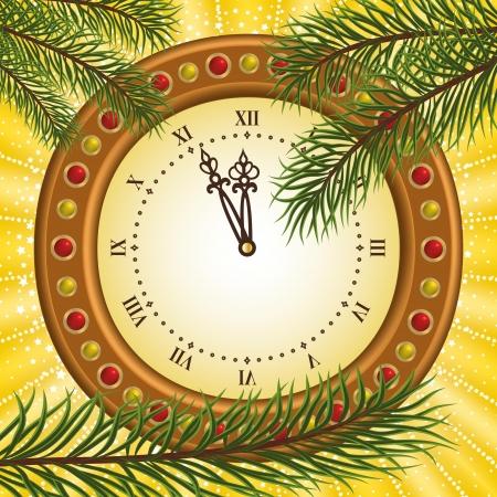 fin de a�o: Reloj y ramas de pino (Fin de A�o). Vectores