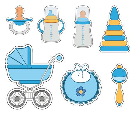 babero: Juego de niño pegatinas bebé aislados sobre fondo blanco Vectores