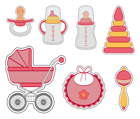Set of baby girl stickers isolated on white background  Vector