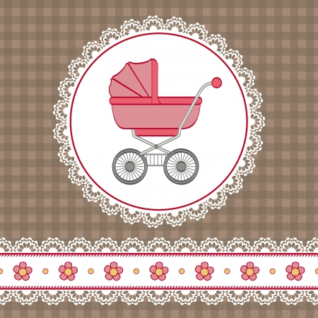 lace border: Baby girl shower with carriage and flowers. Illustration