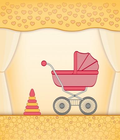 shower curtain: Cartoon yellow room for baby girl.