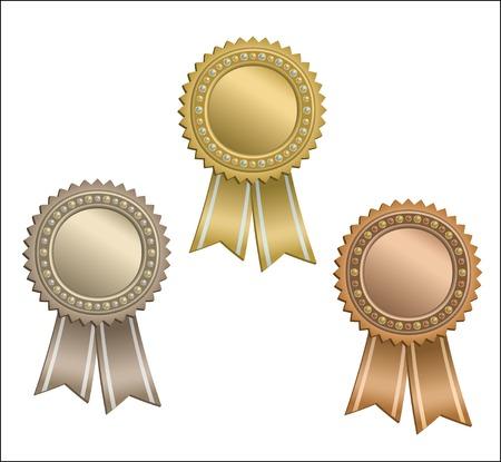Satz von Kreis-Auszeichnungen mit Bändern. Vektorgrafik