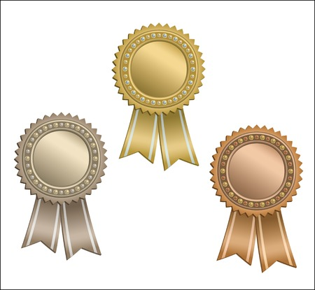 gold silver bronze: Set of circle awards with ribbons. Illustration