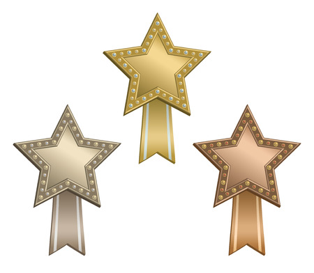 awarded: Set of awarded stars with ribbon.