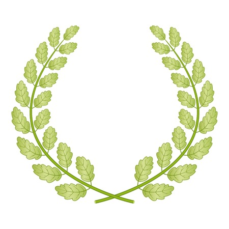 Green oak wreath isolated on white background. Vector