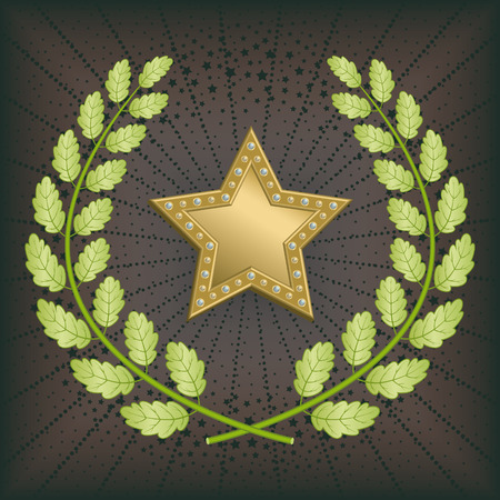 Star award with green oak wreath on black background. Vector