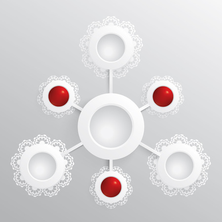Infographic with white and red lace circles. Vector