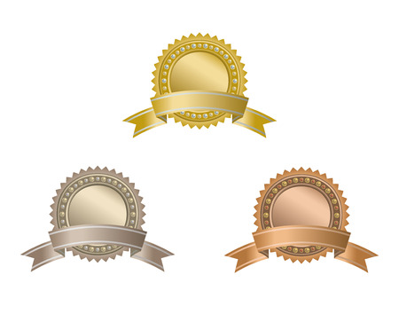 Set of circle awards with ribbons. Stok Fotoğraf - 33228001