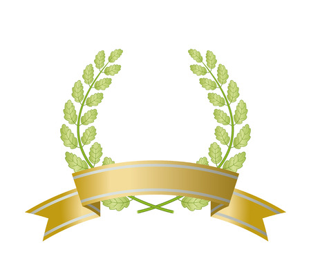 Green oak wreath with ribbon isolated on white background. Vector