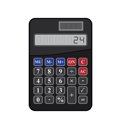 disign: Black calculator isolated on white background.