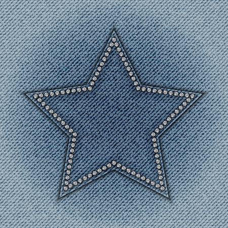 spangle: Blue jeans star with diamonds on jeans background.