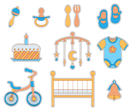 Set of baby boy stickers.