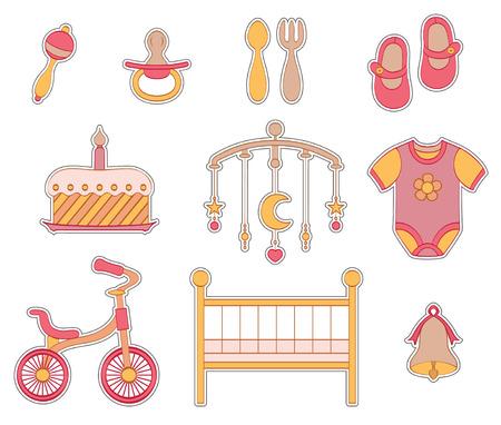 Set baby girl stickers. Stock Illustratie