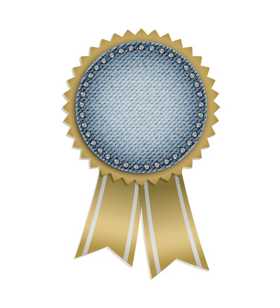 Circle jeans award with ribbons and diamonds.